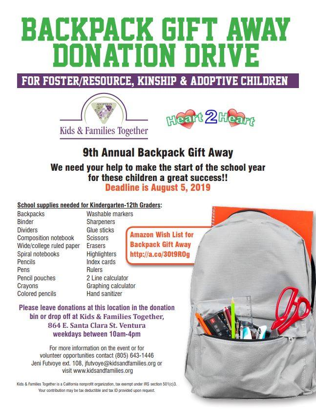 Backpack Gift Away Event - Kids & Families Together